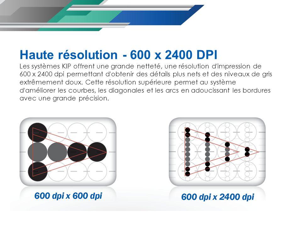 Haute résolution - 600 x 2400 DPI Les systèmes KIP offrent une grande netteté, une résolution d impression de 600 x 2400 dpi permettant d obtenir des détails plus nets et des niveaux de gris extrêmement doux.