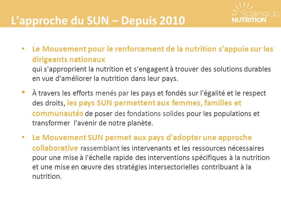 L'approche du SUN – Depuis 2010 Le Mouvement pour le renforcement de la nutrition s'appuie sur les dirigeants nationaux qui s'approprient la nutrition