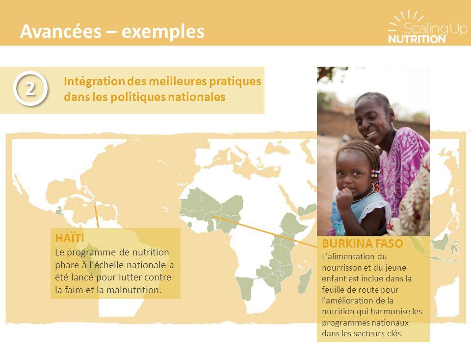 Avancées – exemples Intégration des meilleures pratiques dans les politiques nationales 2 2 BURKINA FASO L'alimentation du nourrisson et du jeune enfa