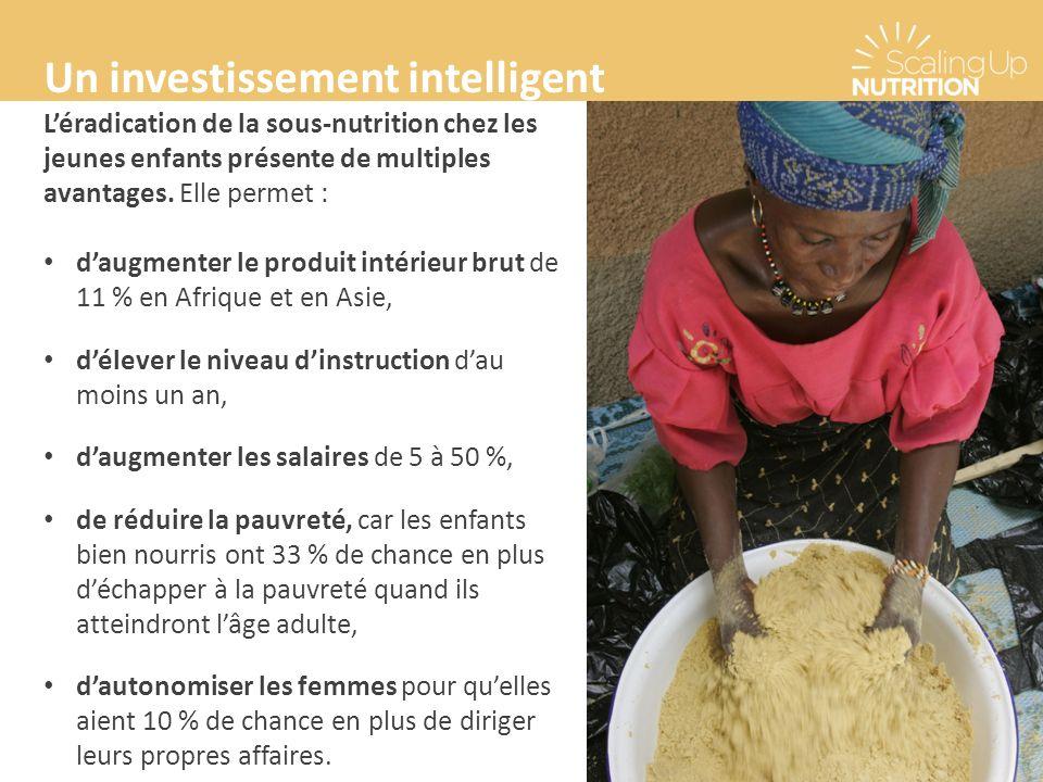 Un investissement intelligent Léradication de la sous-nutrition chez les jeunes enfants présente de multiples avantages. Elle permet : daugmenter le p