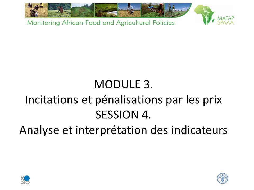 MODULE 3. Incitations et pénalisations par les prix SESSION 4. Analyse et interprétation des indicateurs
