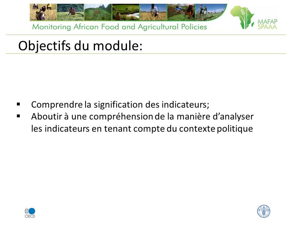 Comprendre la signification des indicateurs; Aboutir à une compréhension de la manière danalyser les indicateurs en tenant compte du contexte politique Objectifs du module:
