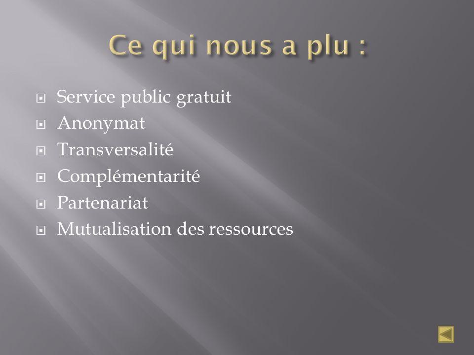 Service public gratuit Anonymat Transversalité Complémentarité Partenariat Mutualisation des ressources