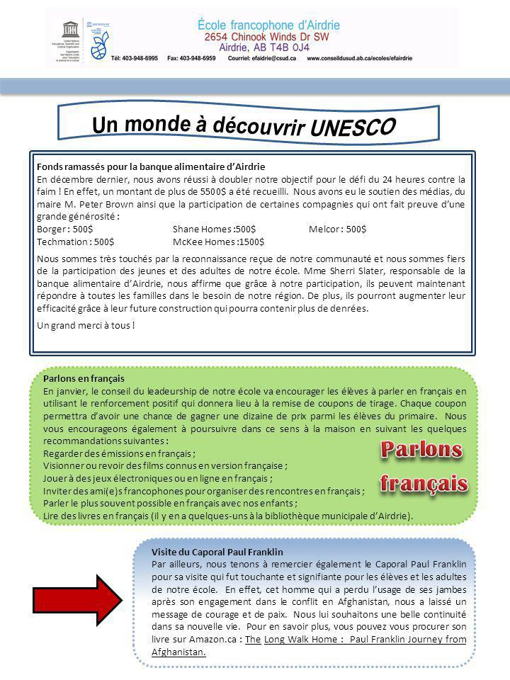 Cours de français Madame Nancy Laforest offrira des leçons de français intermédiaires.