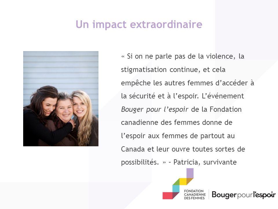 Un impact extraordinaire « Si on ne parle pas de la violence, la stigmatisation continue, et cela empêche les autres femmes daccéder à la sécurité et à lespoir.