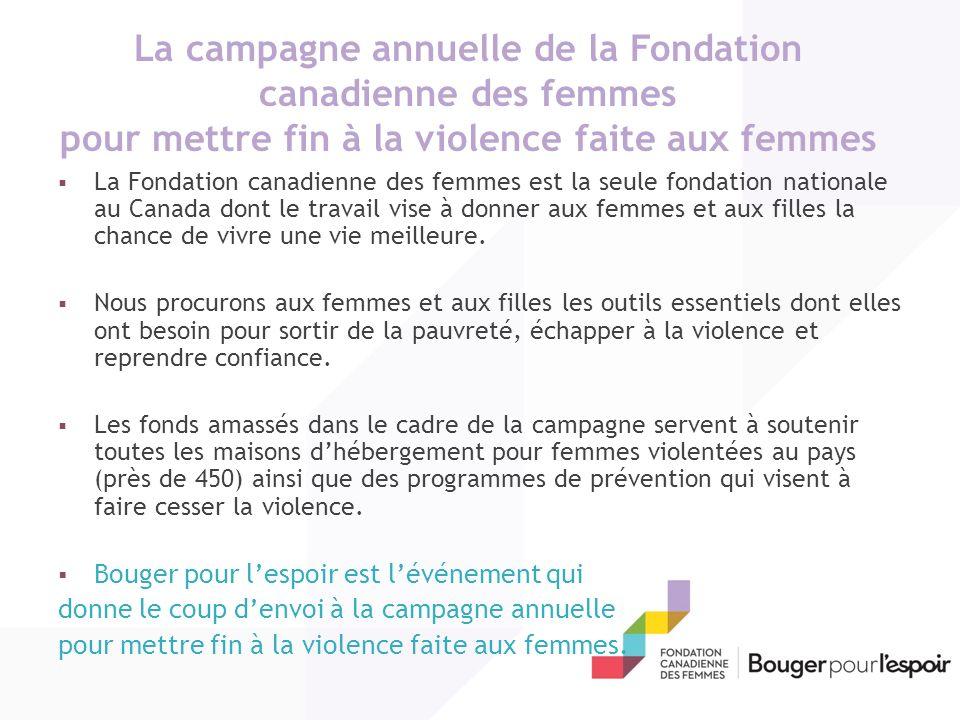 La campagne annuelle de la Fondation canadienne des femmes pour mettre fin à la violence faite aux femmes La Fondation canadienne des femmes est la seule fondation nationale au Canada dont le travail vise à donner aux femmes et aux filles la chance de vivre une vie meilleure.