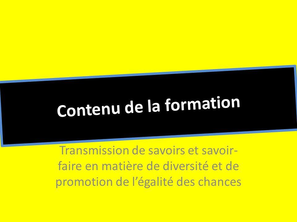 Contenu de la formation Transmission de savoirs et savoir- faire en matière de diversité et de promotion de légalité des chances
