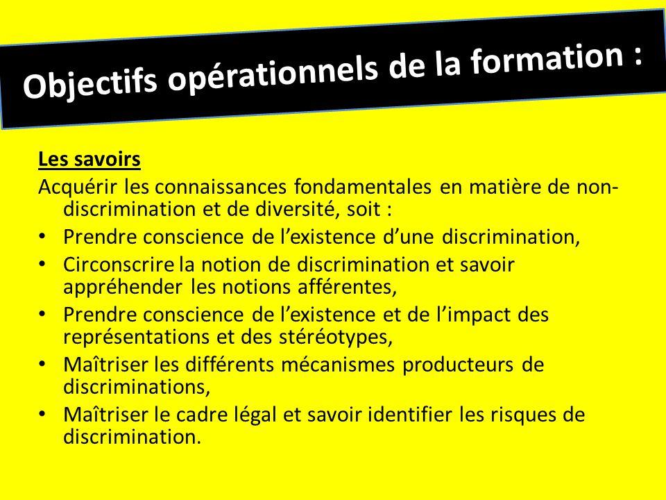 Objectifs opérationnels de la formation : Les savoirs Acquérir les connaissances fondamentales en matière de non- discrimination et de diversité, soit
