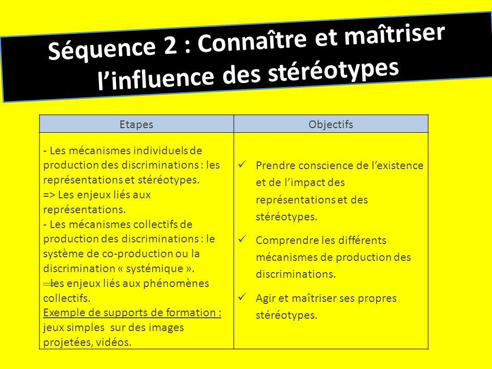 Séquence 2 : Connaître et maîtriser linfluence des stéréotypes EtapesObjectifs - Les mécanismes individuels de production des discriminations : les re