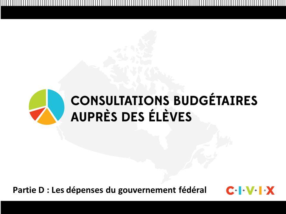 Partie D : Les dépenses du gouvernement fédéral
