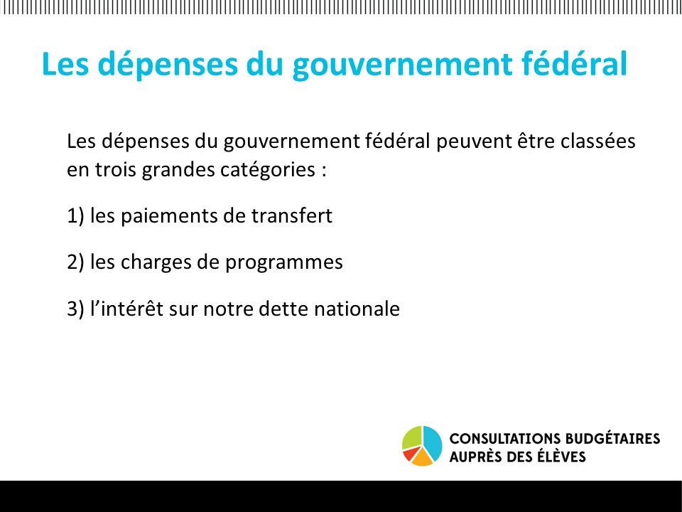 Les dépenses du gouvernement fédéral Les dépenses du gouvernement fédéral peuvent être classées en trois grandes catégories : 1) les paiements de transfert 2) les charges de programmes 3) lintérêt sur notre dette nationale