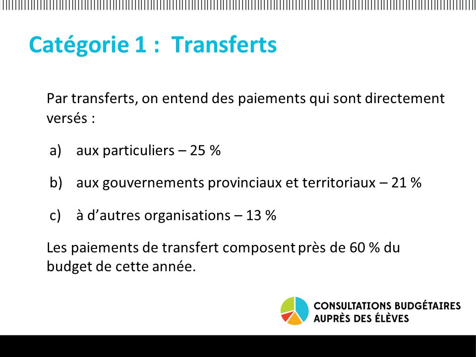 Catégorie 1 : Transferts Par transferts, on entend des paiements qui sont directement versés : a)aux particuliers – 25 % b)aux gouvernements provinciaux et territoriaux – 21 % c)à dautres organisations – 13 % Les paiements de transfert composent près de 60 % du budget de cette année.