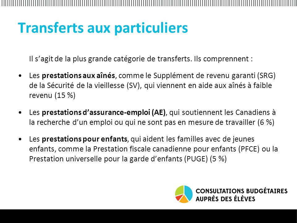 Transferts aux provinces et aux territoires Ces transferts visent à financer les grandes dépenses des gouvernements provinciaux et territoriaux, ainsi que lexécution de programmes destinés aux citoyens.
