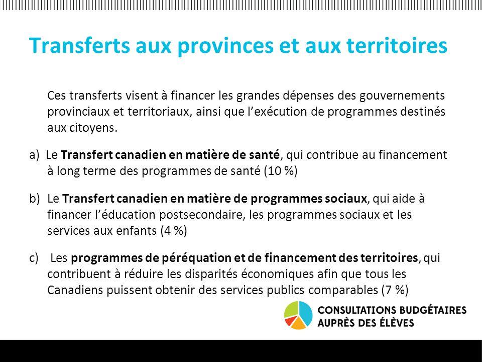 Autres transferts Le dernier groupe de transferts (13 %) couvre les subventions et contributions fédérales.