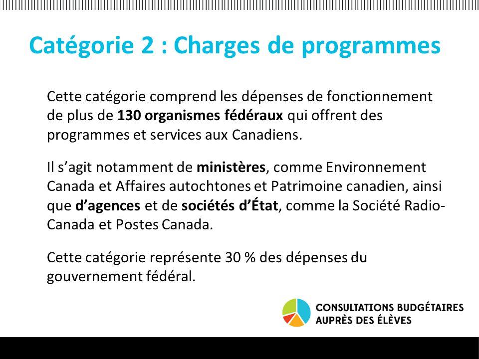 Catégorie 2 : Charges de programmes Cette catégorie comprend les dépenses de fonctionnement de plus de 130 organismes fédéraux qui offrent des programmes et services aux Canadiens.