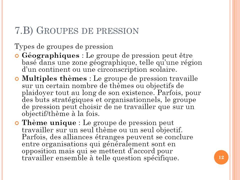 7.B) G ROUPES DE PRESSION Types de groupes de pression Géographiques : Le groupe de pression peut être basé dans une zone géographique, telle quune région dun continent ou une circonscription scolaire.