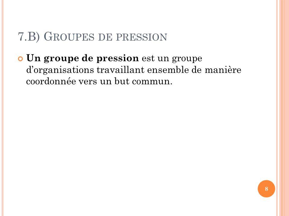 7.B) G ROUPES DE PRESSION Un groupe de pression est un groupe dorganisations travaillant ensemble de manière coordonnée vers un but commun.
