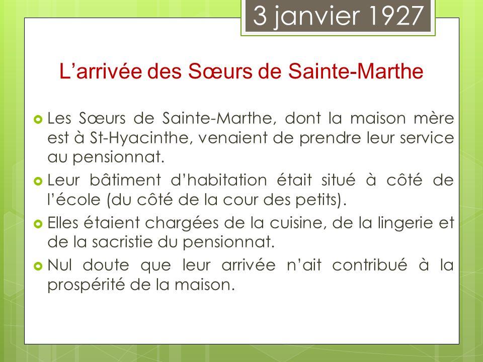 Les Sœurs de Sainte-Marthe, dont la maison mère est à St-Hyacinthe, venaient de prendre leur service au pensionnat. Leur bâtiment dhabitation était si