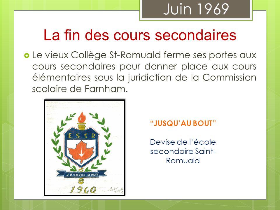Le vieux Collège St-Romuald ferme ses portes aux cours secondaires pour donner place aux cours élémentaires sous la juridiction de la Commission scola