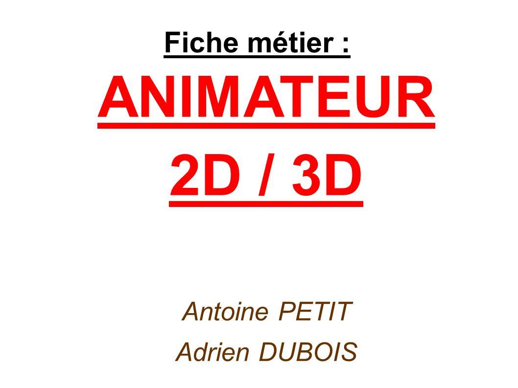 Fiche métier : ANIMATEUR 2D / 3D Antoine PETIT Adrien DUBOIS