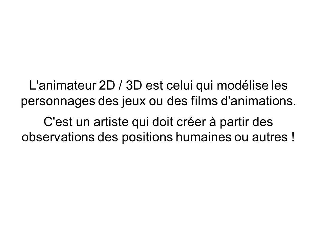 L'animateur 2D / 3D est celui qui modélise les personnages des jeux ou des films d'animations. C'est un artiste qui doit créer à partir des observatio