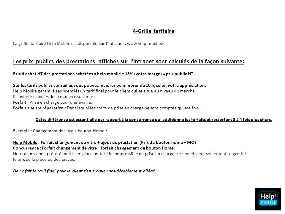4-Grille tarifaire La grille tarifaire Help Mobile est disponible sur lintranet : www.help-mobile.fr Les prix publics des prestations affichés sur lin