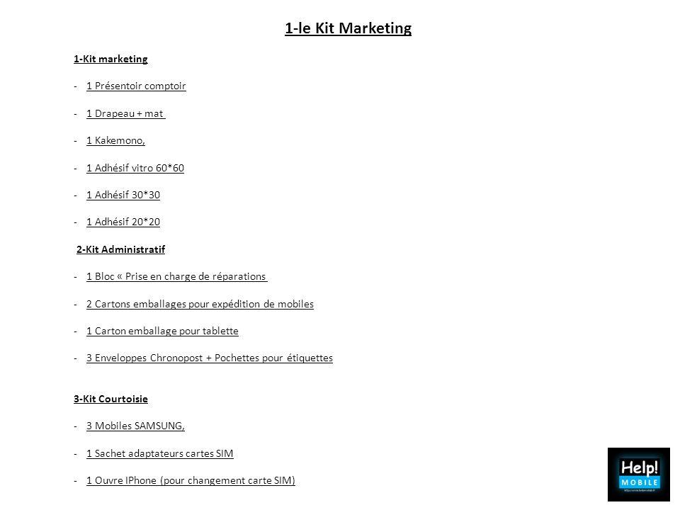 1-le Kit Marketing 1-Kit marketing -1 Présentoir comptoir -1 Drapeau + mat -1 Kakemono, -1 Adhésif vitro 60*60 -1 Adhésif 30*30 -1 Adhésif 20*20 2-Kit
