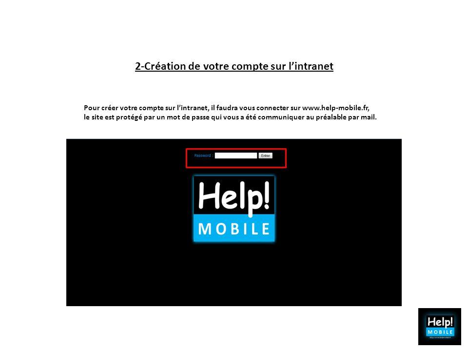 2-Création de votre compte sur lintranet Pour créer votre compte sur lintranet, il faudra vous connecter sur www.help-mobile.fr, le site est protégé p