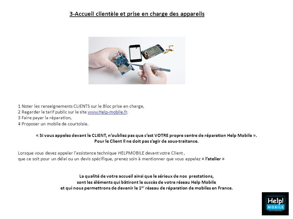 1 Noter les renseignements CLIENTS sur le Bloc prise en charge, 2 Regarder le tarif public sur le site www.Help-mobile.fr.www.Help-mobile.fr 3 Faire p