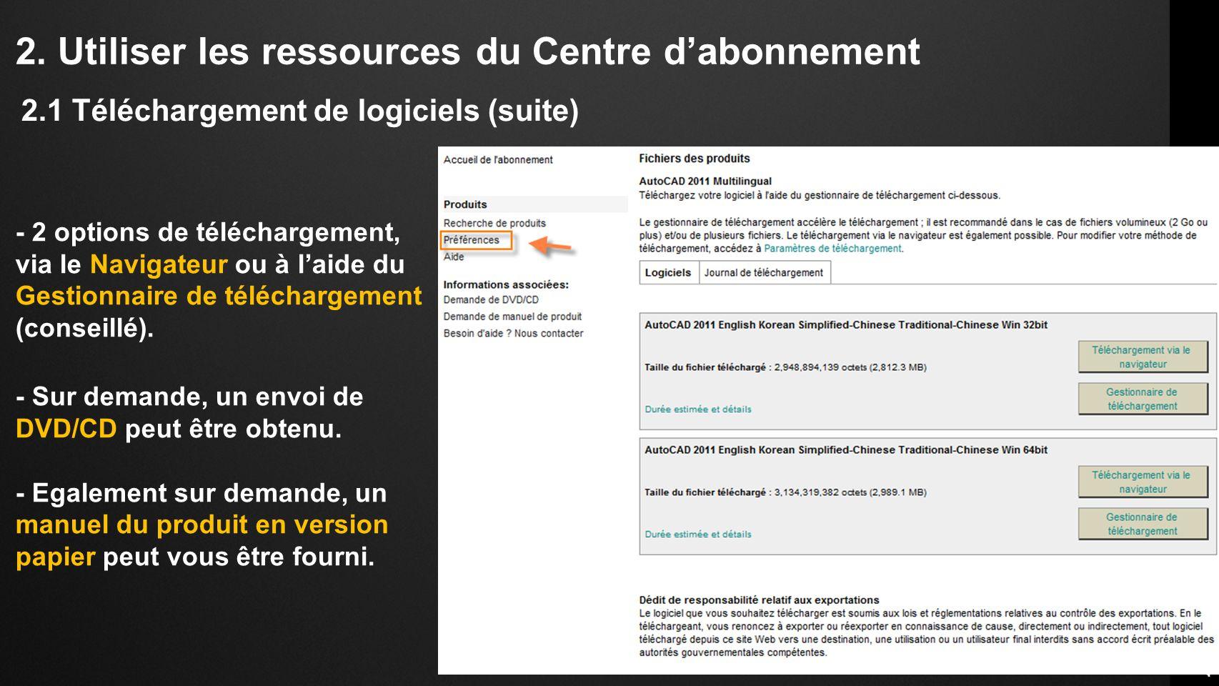 2. Utiliser les ressources du Centre dabonnement - 2 options de téléchargement, via le Navigateur ou à laide du Gestionnaire de téléchargement (consei