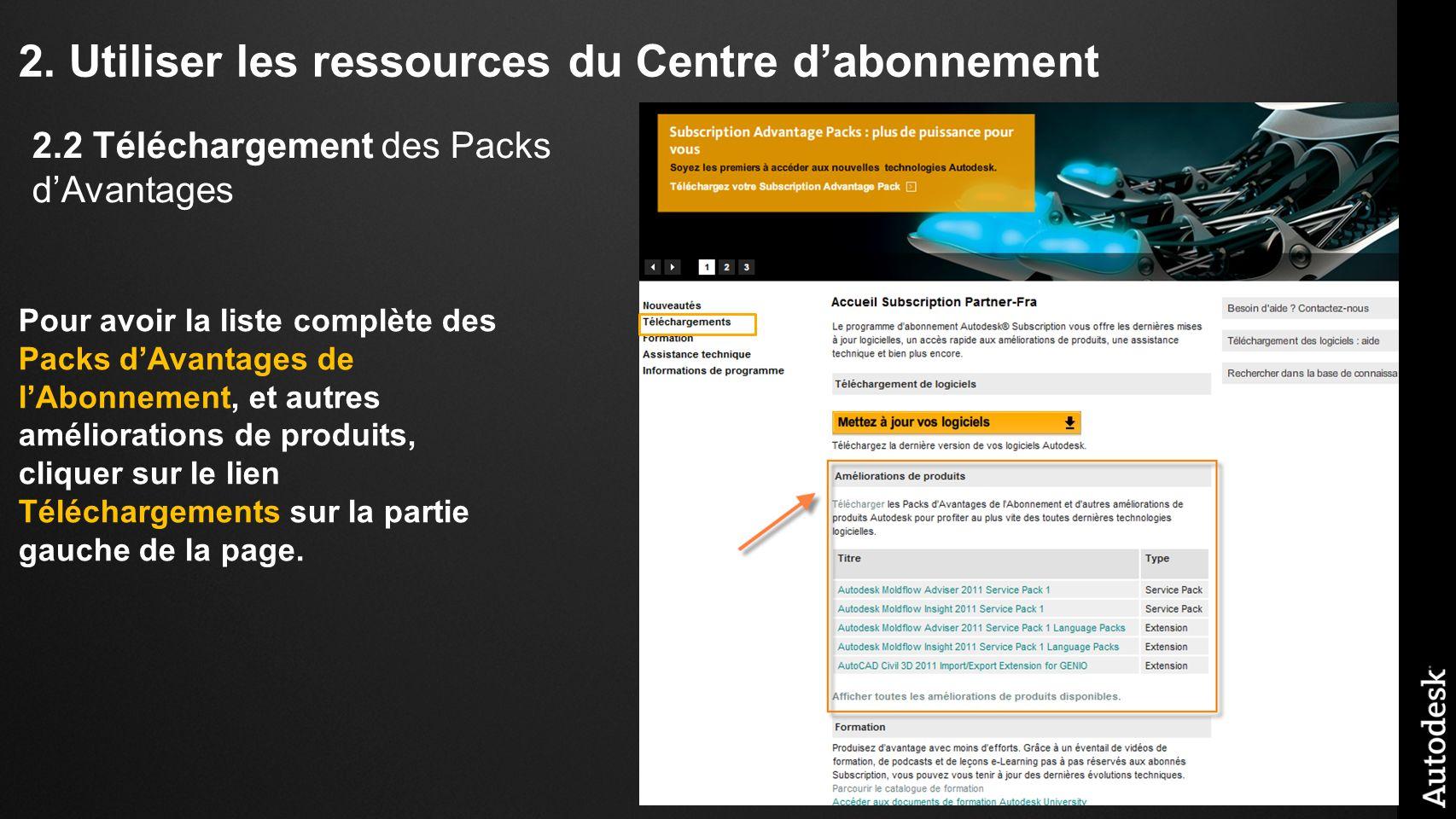 2. Utiliser les ressources du Centre dabonnement Pour avoir la liste complète des Packs dAvantages de lAbonnement, et autres améliorations de produits
