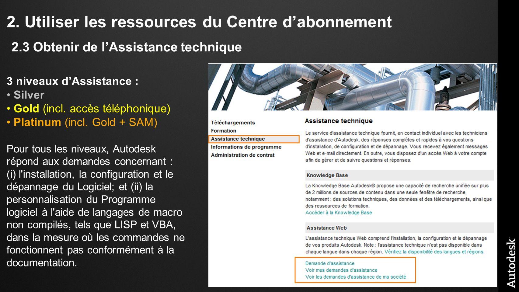 2.Utiliser les ressources du Centre dabonnement 3 niveaux dAssistance : Silver Gold (incl.