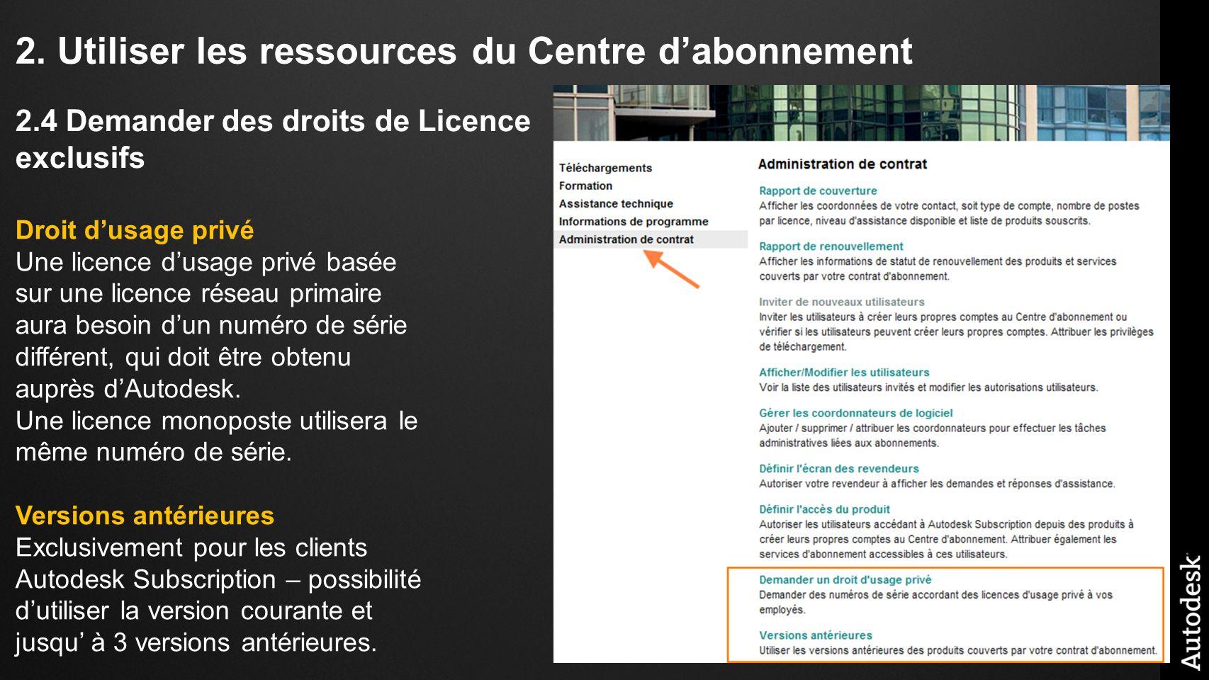 2. Utiliser les ressources du Centre dabonnement Droit dusage privé Une licence dusage privé basée sur une licence réseau primaire aura besoin dun num