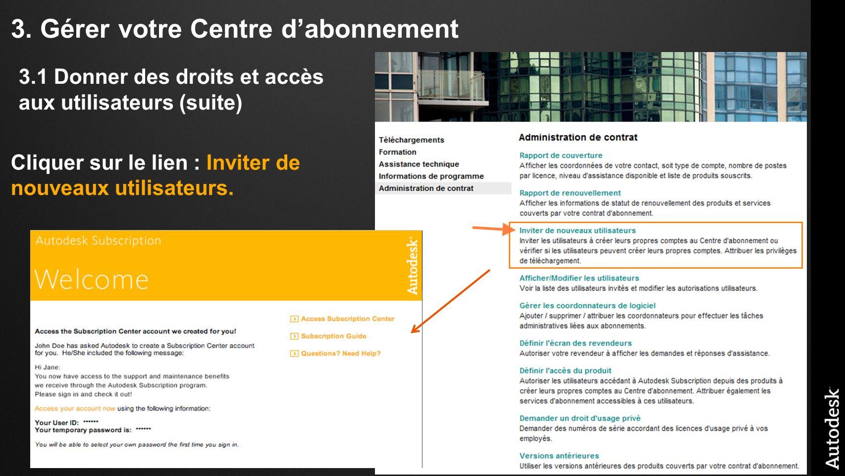 3. Gérer votre Centre dabonnement Cliquer sur le lien : Inviter de nouveaux utilisateurs. 3.1 Donner des droits et accès aux utilisateurs (suite)