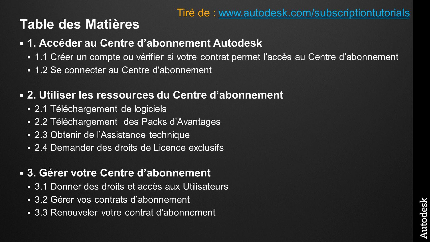 Table des Matières 1. Accéder au Centre dabonnement Autodesk 1.1 Créer un compte ou vérifier si votre contrat permet laccès au Centre dabonnement 1.2