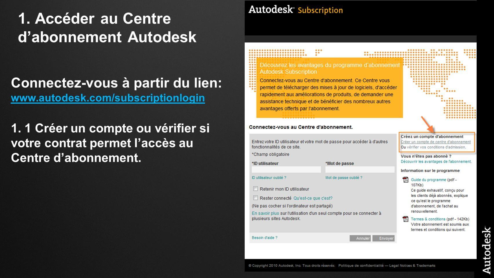 1. Accéder au Centre dabonnement Autodesk Connectez-vous à partir du lien: www.autodesk.com/subscriptionlogin www.autodesk.com/subscriptionlogin 1. 1