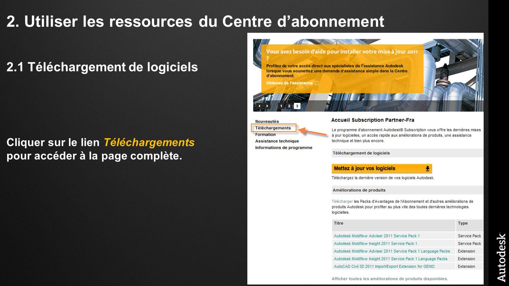 2. Utiliser les ressources du Centre dabonnement 2.1 Téléchargement de logiciels Cliquer sur le lien Téléchargements pour accéder à la page complète.