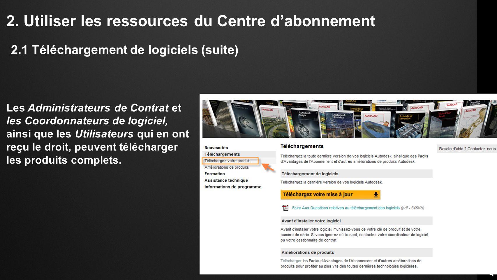 2. Utiliser les ressources du Centre dabonnement Les Administrateurs de Contrat et les Coordonnateurs de logiciel, ainsi que les Utilisateurs qui en o