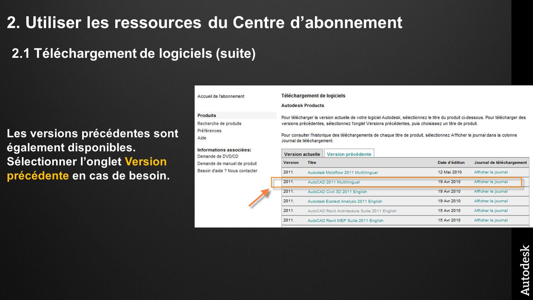 2. Utiliser les ressources du Centre dabonnement Les versions précédentes sont également disponibles. Sélectionner longlet Version précédente en cas d