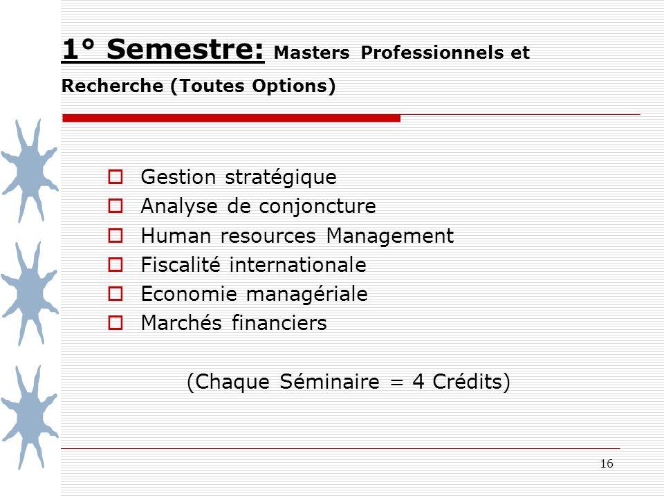 16 1° Semestre: Masters Professionnels et Recherche (Toutes Options) Gestion stratégique Analyse de conjoncture Human resources Management Fiscalité internationale Economie managériale Marchés financiers (Chaque Séminaire = 4 Crédits)