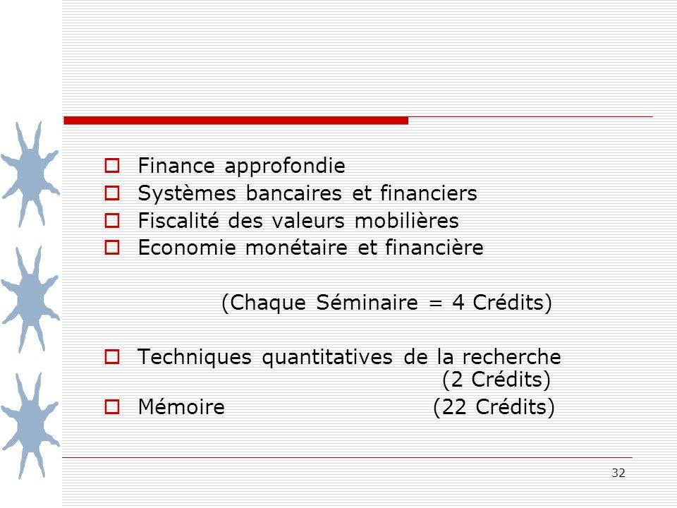 32 Finance approfondie Systèmes bancaires et financiers Fiscalité des valeurs mobilières Economie monétaire et financière (Chaque Séminaire = 4 Crédits) Techniques quantitatives de la recherche (2 Crédits) Mémoire (22 Crédits)