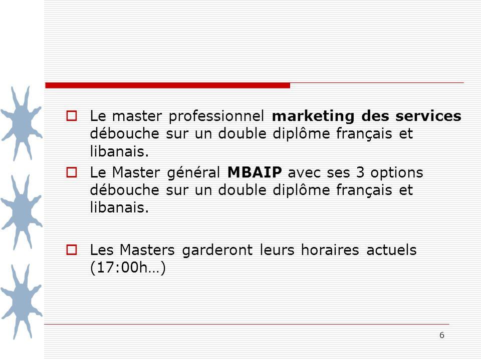 6 Le master professionnel marketing des services débouche sur un double diplôme français et libanais.