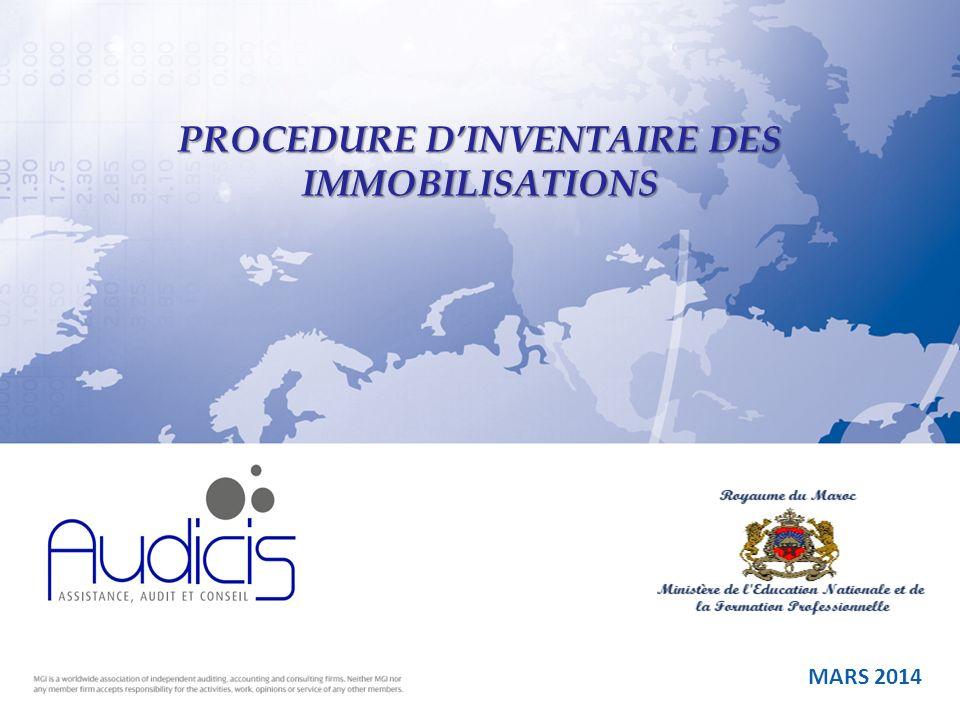 MARS 2014 PROCEDURE DINVENTAIRE DES IMMOBILISATIONS