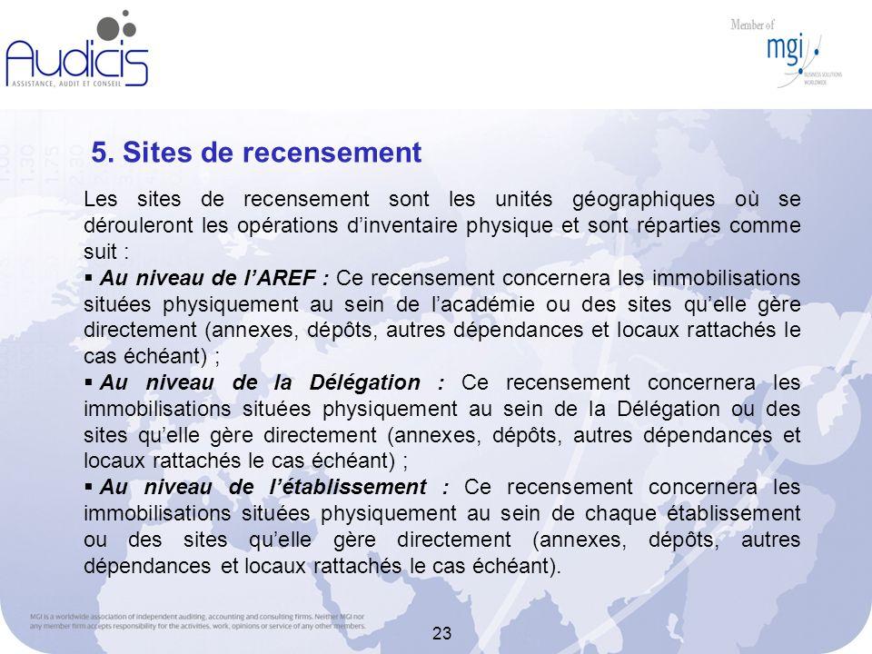 23 5. Sites de recensement Les sites de recensement sont les unités géographiques où se dérouleront les opérations dinventaire physique et sont répart