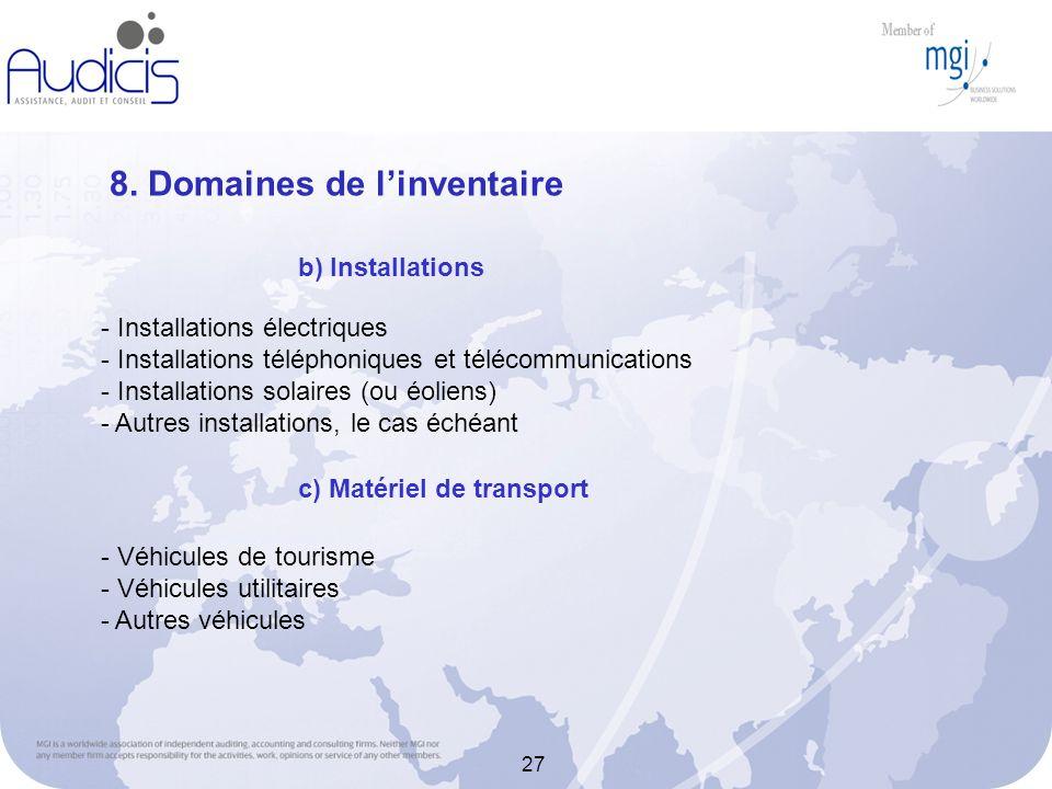 27 8. Domaines de linventaire - Installations électriques - Installations téléphoniques et télécommunications - Installations solaires (ou éoliens) -
