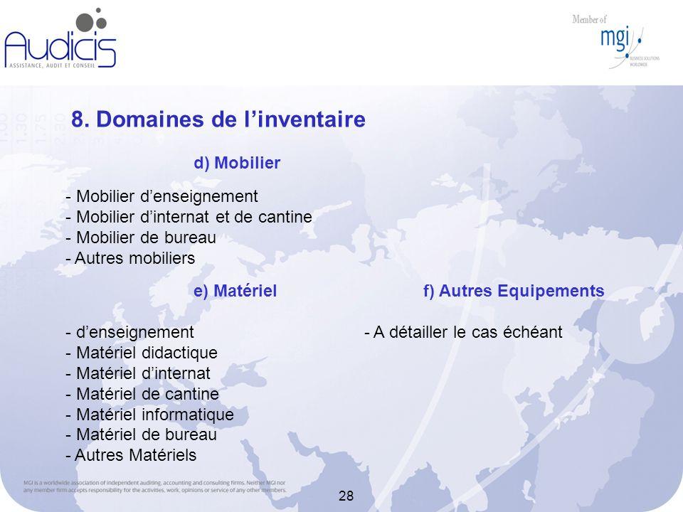 28 8. Domaines de linventaire - Mobilier denseignement - Mobilier dinternat et de cantine - Mobilier de bureau - Autres mobiliers d) Mobilier e) Matér