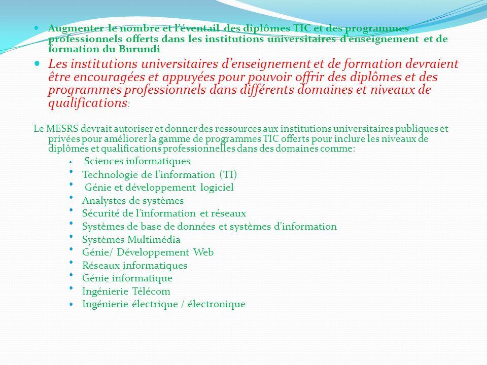 Augmenter le nombre et léventail des diplômes TIC et des programmes professionnels offerts dans les institutions universitaires denseignement et de fo