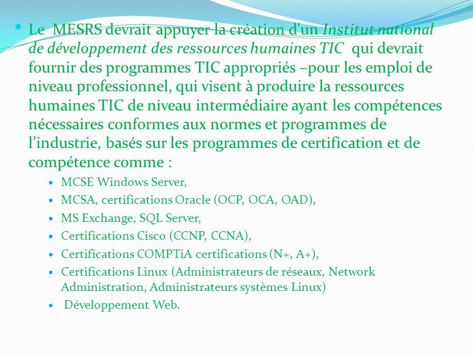 Le MESRS devrait appuyer la création d'un Institut national de développement des ressources humaines TIC qui devrait fournir des programmes TIC approp