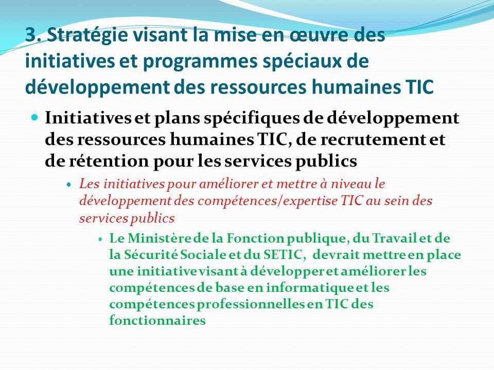 3. Stratégie visant la mise en œuvre des initiatives et programmes spéciaux de développement des ressources humaines TIC Initiatives et plans spécifiq