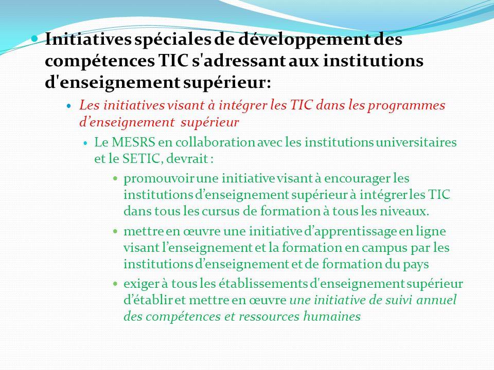 Initiatives spéciales de développement des compétences TIC s'adressant aux institutions d'enseignement supérieur: Les initiatives visant à intégrer le